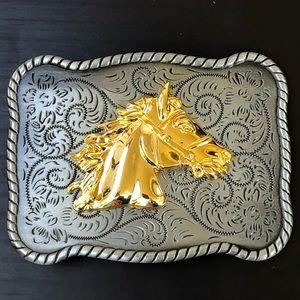 Other - Horse belt buckle cowboy men vintage silver 3d
